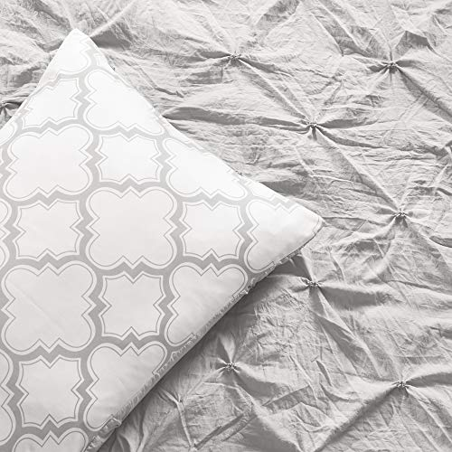 Lush Decor Ravello Pintuck Caroline Geo 5 Piece Comforter Set Twin XL Light Gray 0 2