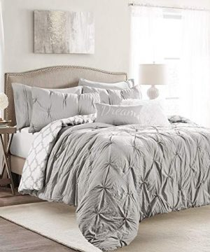 Lush Decor Ravello Pintuck Caroline Geo 5 Piece Comforter Set Twin XL Light Gray 0 300x360