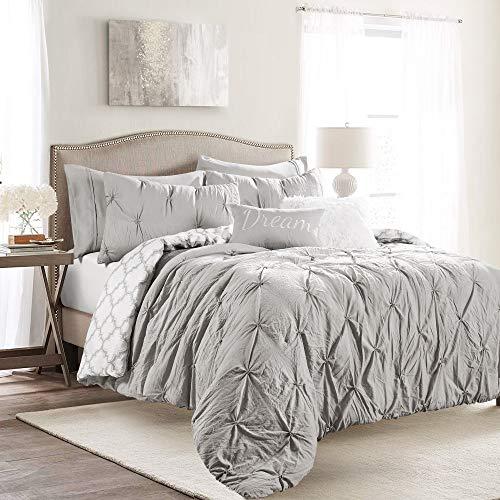 Lush Decor Ravello Pintuck Caroline Geo 5 Piece Comforter Set Twin XL Light Gray 0