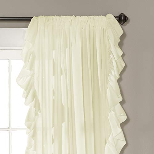 Lush Decor Reyna Ivory Window Panel Curtain Set For Living Dining Room Bedroom Pair 84 X 54 0 0