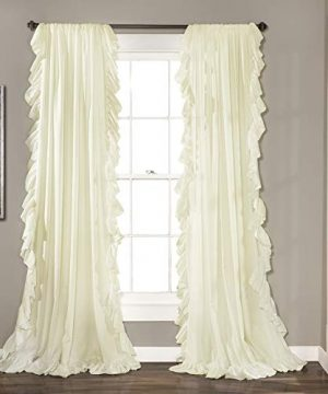 Lush Decor Reyna Ivory Window Panel Curtain Set For Living Dining Room Bedroom Pair 84 X 54 0 300x360