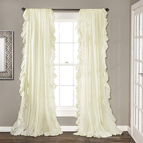 Lush Decor Reyna Ivory Window Panel Curtain Set For Living Dining Room Bedroom Pair 84 X 54 0