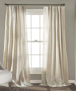 Lush Decor Rosalie Window Curtains Farmhouse Rustic Style Panel Set For Living Dining Room Bedroom Pair 84 X 54 Ivory 0 300x360