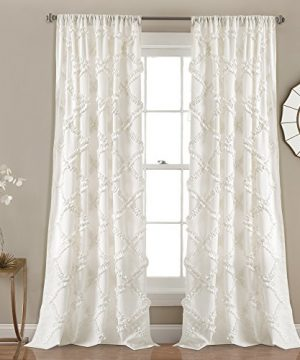 Lush Decor Ruffle Diamond Curtains Textured Window Panel Set For Living Dining Room Bedroom Pair 84 X 54 White 84 X 54 0 300x360