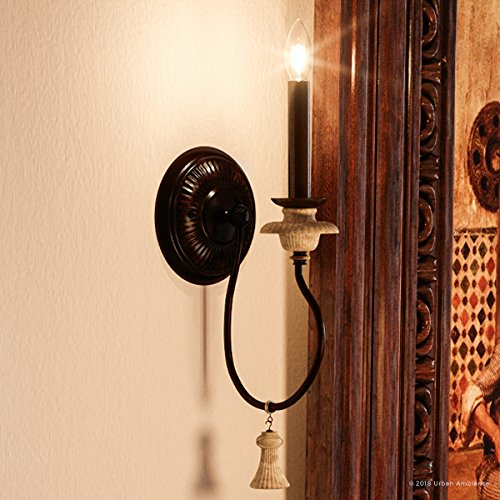 Luxury French Country Wall Sconce Small Size 1725H X 6W With Art Nouveau Style Elements Ancient Bronze Finish UHP2104 From The Alicante Collection By Urban Ambiance 0