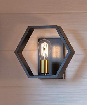 Luxury Industrial Wall Sconce Small Size 875H X 10W With Geometric Style Elements Natural Black Finish UQL2773 From The Venezia Collection By Urban Ambiance 0 300x360