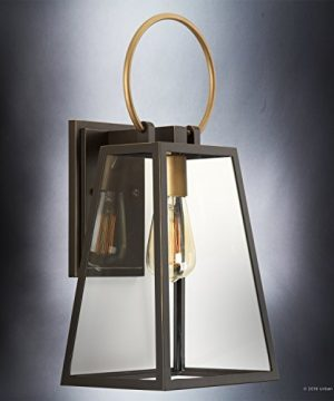 Luxury Vintage Outdoor Wall Light Medium Size 15125H X 65W With Farmhouse Style Elements Olde Bronze Finish And Clear Shade UHP1002 From The Vicenza Collection By Urban Ambiance 0 2 300x360