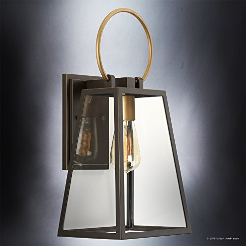Luxury Vintage Outdoor Wall Light Medium Size 15125H X 65W With Farmhouse Style Elements Olde Bronze Finish And Clear Shade UHP1002 From The Vicenza Collection By Urban Ambiance 0 2