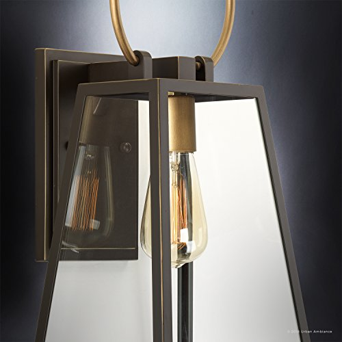 Luxury Vintage Outdoor Wall Light Medium Size 15125H X 65W With Farmhouse Style Elements Olde Bronze Finish And Clear Shade UHP1002 From The Vicenza Collection By Urban Ambiance 0 3