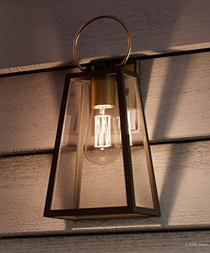 Luxury Vintage Outdoor Wall Light Medium Size 15125H X 65W With Farmhouse Style Elements Olde Bronze Finish And Clear Shade UHP1002 From The Vicenza Collection By Urban Ambiance 0 300x360
