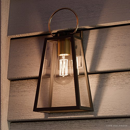 Luxury Vintage Outdoor Wall Light Medium Size 15125H X 65W With Farmhouse Style Elements Olde Bronze Finish And Clear Shade UHP1002 From The Vicenza Collection By Urban Ambiance 0
