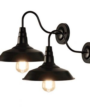 LynPon 2 Pack Black Gooseneck Barn Light Fixture Industrial Vintage Wall Sconce For Warehouse Modern Farmhouse Wall Porch Indoor Lighting 0 300x360