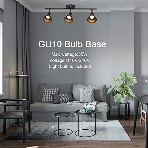 MELUCEE Ceiling Track Lighting With 3 Light Adjustable Track Heads Oil Rubbed Bronze Spotlights Kitchen Track Lighting Fixtures Ceiling 35W GU10 Base Halogen Bulbs Included 0 3