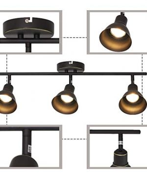 MELUCEE Ceiling Track Lighting With 3 Light Adjustable Track Heads Oil Rubbed Bronze Spotlights Kitchen Track Lighting Fixtures Ceiling 35W GU10 Base Halogen Bulbs Included 0 5 300x360