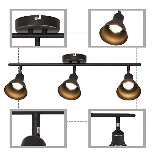 MELUCEE Ceiling Track Lighting With 3 Light Adjustable Track Heads Oil Rubbed Bronze Spotlights Kitchen Track Lighting Fixtures Ceiling 35W GU10 Base Halogen Bulbs Included 0 5