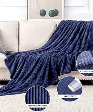 MIULEE Fluffy Throw Blanket Soft Fleece Stripes Pattern Blanket Lightweight Breathable Sofa Blankets For Relax Napping Sleeping Twin Size Navy Blue 0 1 300x360