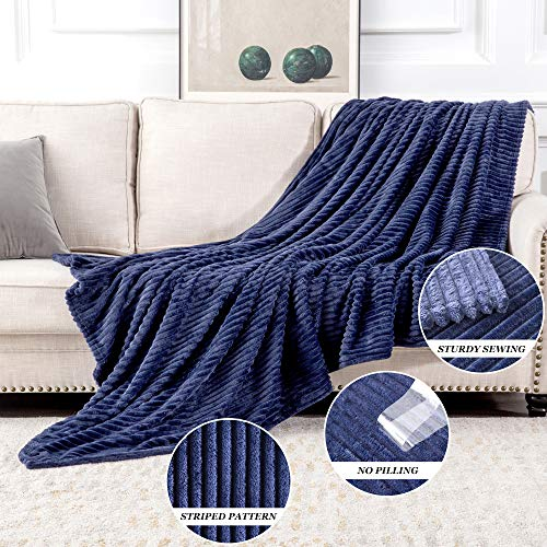 MIULEE Fluffy Throw Blanket Soft Fleece Stripes Pattern Blanket Lightweight Breathable Sofa Blankets For Relax Napping Sleeping Twin Size Navy Blue 0 1