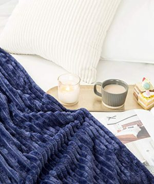 MIULEE Fluffy Throw Blanket Soft Fleece Stripes Pattern Blanket Lightweight Breathable Sofa Blankets For Relax Napping Sleeping Twin Size Navy Blue 0 2 300x360