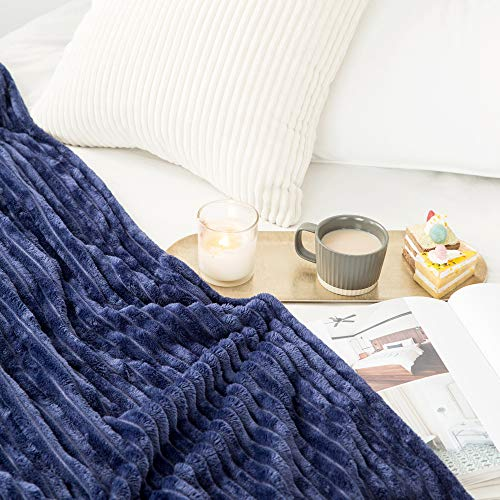 MIULEE Fluffy Throw Blanket Soft Fleece Stripes Pattern Blanket Lightweight Breathable Sofa Blankets For Relax Napping Sleeping Twin Size Navy Blue 0 2
