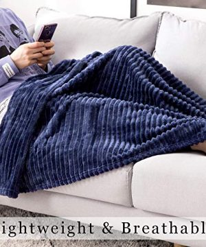 MIULEE Fluffy Throw Blanket Soft Fleece Stripes Pattern Blanket Lightweight Breathable Sofa Blankets For Relax Napping Sleeping Twin Size Navy Blue 0 3 300x360