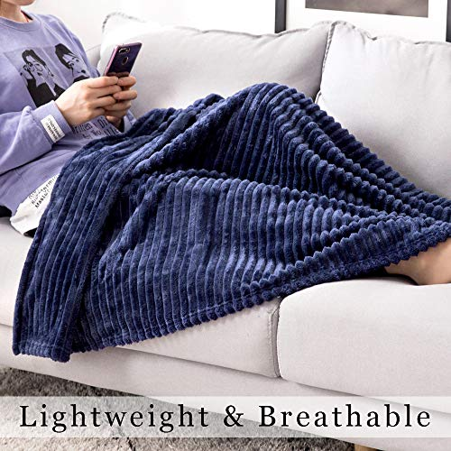MIULEE Fluffy Throw Blanket Soft Fleece Stripes Pattern Blanket Lightweight Breathable Sofa Blankets For Relax Napping Sleeping Twin Size Navy Blue 0 3