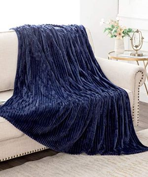 MIULEE Fluffy Throw Blanket Soft Fleece Stripes Pattern Blanket Lightweight Breathable Sofa Blankets For Relax Napping Sleeping Twin Size Navy Blue 0 4 300x360