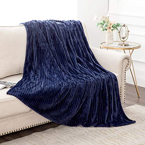 MIULEE Fluffy Throw Blanket Soft Fleece Stripes Pattern Blanket Lightweight Breathable Sofa Blankets For Relax Napping Sleeping Twin Size Navy Blue 0 4