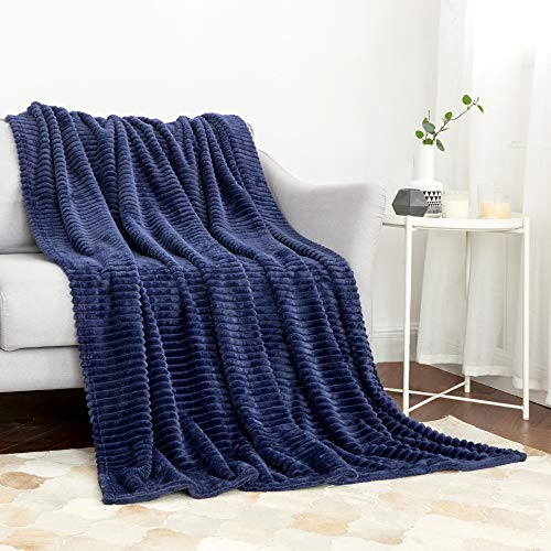 MIULEE Fluffy Throw Blanket Soft Fleece Stripes Pattern Blanket Lightweight Breathable Sofa Blankets For Relax Napping Sleeping Twin Size Navy Blue 0
