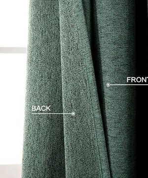MIULEE Thermal Linen Curtain For Living Room Darkening Farmhouse Grommet Textured Window Blackout Drape Light Block Out For Bedroom 1 Panel W 52 X L 72 Inches Dark Green 0 1 300x360