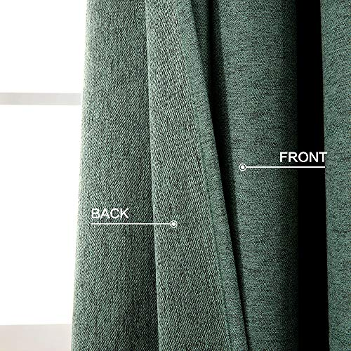 MIULEE Thermal Linen Curtain For Living Room Darkening Farmhouse Grommet Textured Window Blackout Drape Light Block Out For Bedroom 1 Panel W 52 X L 72 Inches Dark Green 0 1