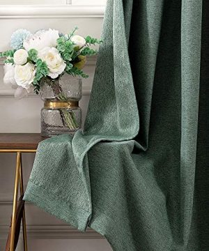 MIULEE Thermal Linen Curtain For Living Room Darkening Farmhouse Grommet Textured Window Blackout Drape Light Block Out For Bedroom 1 Panel W 52 X L 72 Inches Dark Green 0 2 300x360
