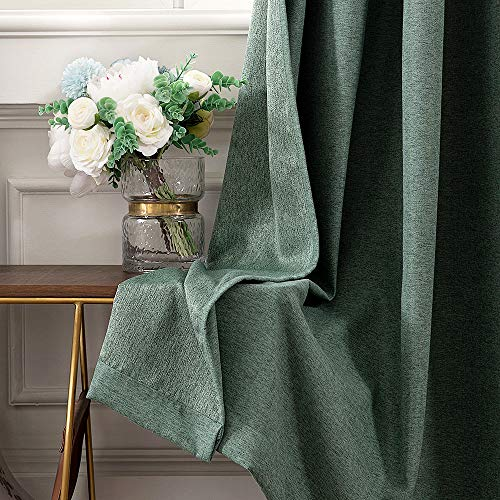 MIULEE Thermal Linen Curtain For Living Room Darkening Farmhouse Grommet Textured Window Blackout Drape Light Block Out For Bedroom 1 Panel W 52 X L 72 Inches Dark Green 0 2