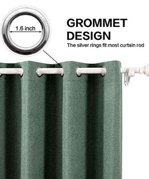MIULEE Thermal Linen Curtain For Living Room Darkening Farmhouse Grommet Textured Window Blackout Drape Light Block Out For Bedroom 1 Panel W 52 X L 72 Inches Dark Green 0 300x360