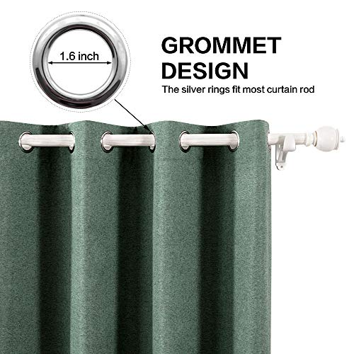 MIULEE Thermal Linen Curtain For Living Room Darkening Farmhouse Grommet Textured Window Blackout Drape Light Block Out For Bedroom 1 Panel W 52 X L 72 Inches Dark Green 0
