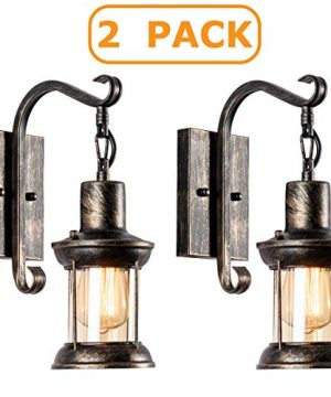 MOONKIST Vintage Glass Wall Sconce Fixtures 2 Pack Rustic Nordic Glass Wall Light Fixtures Retro Black Painted Color Wall Lamp For Restaurant Home Bar Bedroom Bedside Corridor Decorate No Bulb 0 300x360
