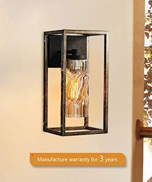 MOTINI 1 Light Outdoor Wall Lantern Farmhouse Wall Sconce Lighting Wood Texture With Brown Twisted Glass Bulb Included ETL Listed 0 2 300x360