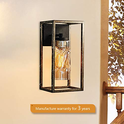 MOTINI 1 Light Outdoor Wall Lantern Farmhouse Wall Sconce Lighting Wood Texture With Brown Twisted Glass Bulb Included ETL Listed 0 2
