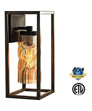 MOTINI 1 Light Outdoor Wall Lantern Farmhouse Wall Sconce Lighting Wood Texture With Brown Twisted Glass Bulb Included ETL Listed 0 300x360