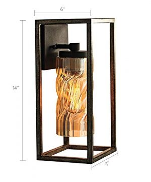 MOTINI 1 Light Outdoor Wall Lantern Farmhouse Wall Sconce Lighting Wood Texture With Brown Twisted Glass Bulb Included ETL Listed 0 4 300x360
