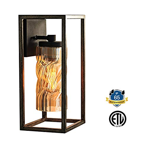 MOTINI 1 Light Outdoor Wall Lantern Farmhouse Wall Sconce Lighting Wood Texture With Brown Twisted Glass Bulb Included ETL Listed 0