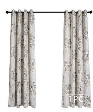 MYSKY HOME Dahlia Flower Damask Style Fashion Design Print Thermal Insulated Blackout Curtain With Grommet Top For Living Room 52 By 84 Inch Brown 1 Panel 0 0 300x360