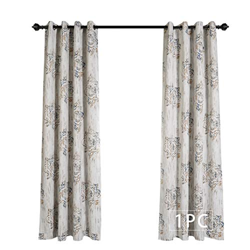 MYSKY HOME Dahlia Flower Damask Style Fashion Design Print Thermal Insulated Blackout Curtain With Grommet Top For Living Room 52 By 84 Inch Brown 1 Panel 0 0