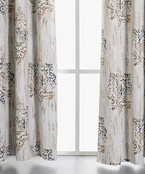 MYSKY HOME Dahlia Flower Damask Style Fashion Design Print Thermal Insulated Blackout Curtain With Grommet Top For Living Room 52 By 84 Inch Brown 1 Panel 0 1 300x360
