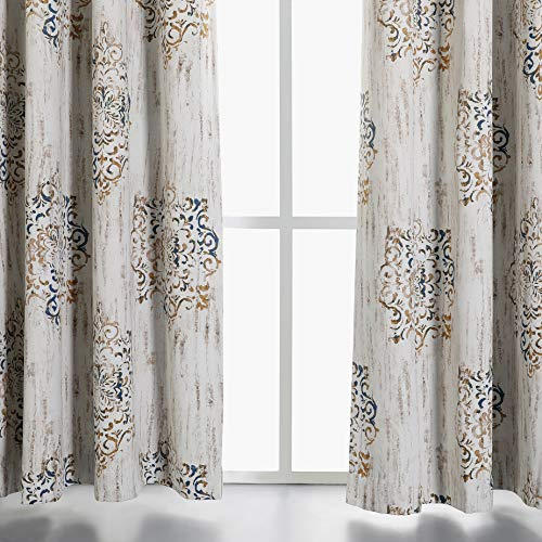 MYSKY HOME Dahlia Flower Damask Style Fashion Design Print Thermal Insulated Blackout Curtain With Grommet Top For Living Room 52 By 84 Inch Brown 1 Panel 0 1