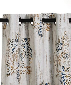 MYSKY HOME Dahlia Flower Damask Style Fashion Design Print Thermal Insulated Blackout Curtain With Grommet Top For Living Room 52 By 84 Inch Brown 1 Panel 0 2 300x360