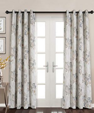 MYSKY HOME Dahlia Flower Damask Style Fashion Design Print Thermal Insulated Blackout Curtain With Grommet Top For Living Room 52 By 84 Inch Brown 1 Panel 0 300x360