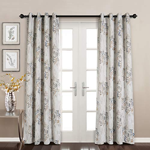 MYSKY HOME Dahlia Flower Damask Style Fashion Design Print Thermal Insulated Blackout Curtain With Grommet Top For Living Room 52 By 84 Inch Brown 1 Panel 0
