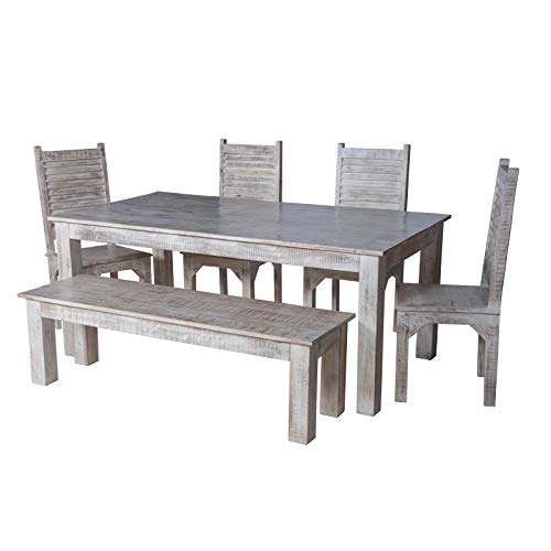 Maadze 6 Piece White Dining Table Set 0 0