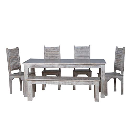 Maadze 6 Piece White Dining Table Set 0