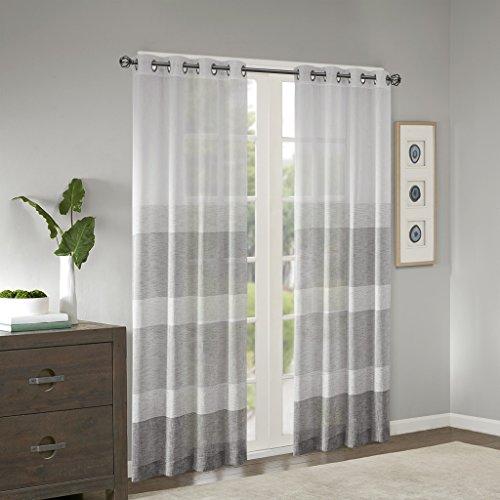Madison Park Bedroom Modern Contemporary Linen Grey Living Room Hayden Striped Light Grommet Sheer Curtain 50 W X 95 L 1 Panel Pack 0 0